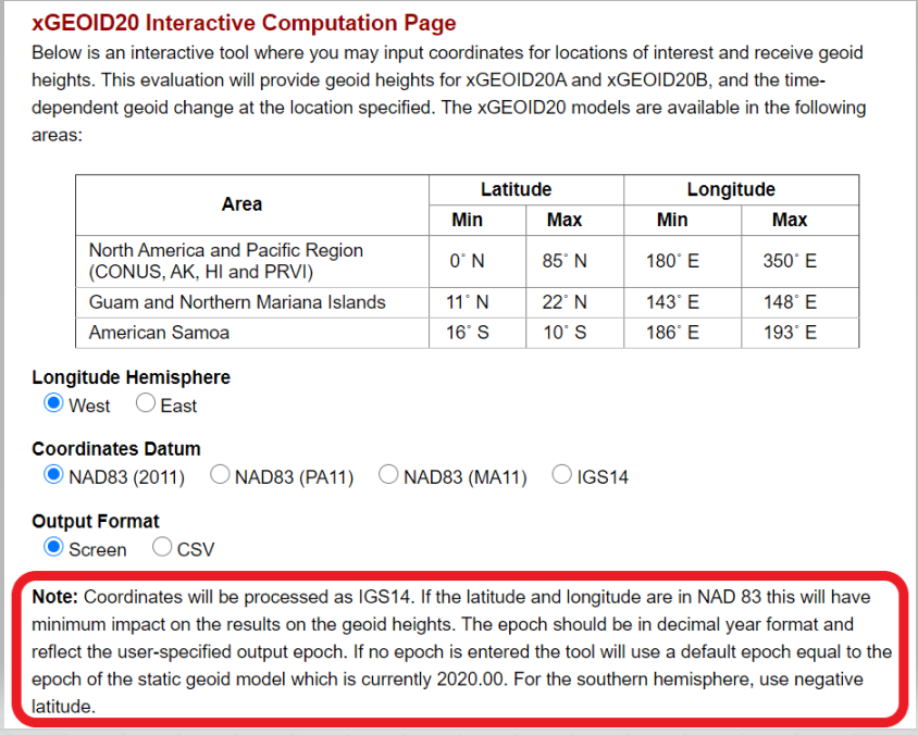 xGEOID20 Interactive Computation Page. (Image: NGS)