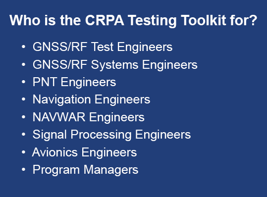 Who is the CRPA Testing Toolkit for?