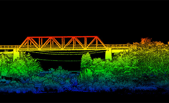 Side view point cloud of bridge. Data collected using and OxTS xNAV650 INS and Velodyne VLP-16 lidar. Data processed using OxTS Georeferencer. (Image: OxTS)