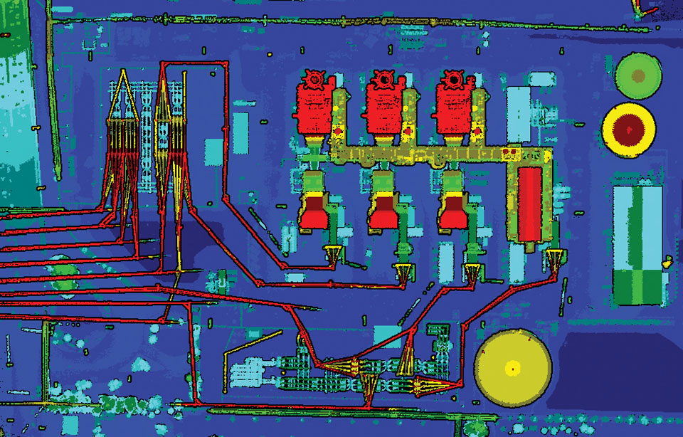 Lidar can reveal the intricate details of an infrastructure, such as this power plant. (Photo: PrecisionHawk)