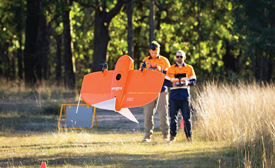 Wingtra's UAVs perform vertical take off and landing (VTOL), but fly horizontally. New European regulations easing restrictions on flight beyond visual line of sight (BVLOS) make this increasingly common. (Photo: Wingtra)