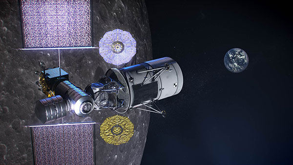 Illustration of NASA's lunar-orbiting Gateway and a human landing system in orbit around the Moon. (Image: NASA)