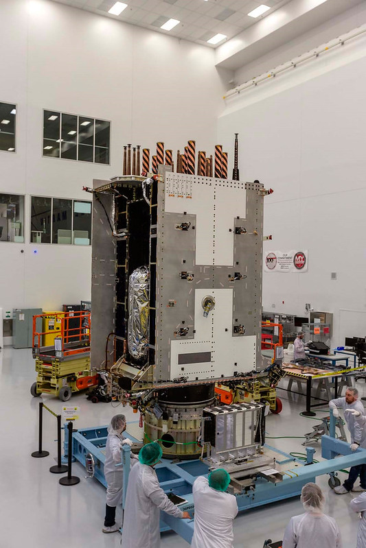 GPS III SV05, now in Florida, is shown fully integrated at Lockheed Martin's production facility in Colorado. (Photo: Lockheed Martin)