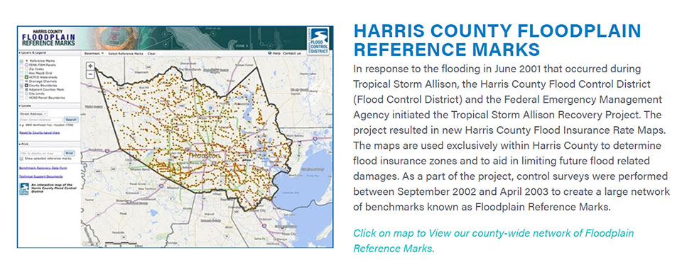 Harris County Floodplain Reference Marks. (Image: Harris County Flood Control District)