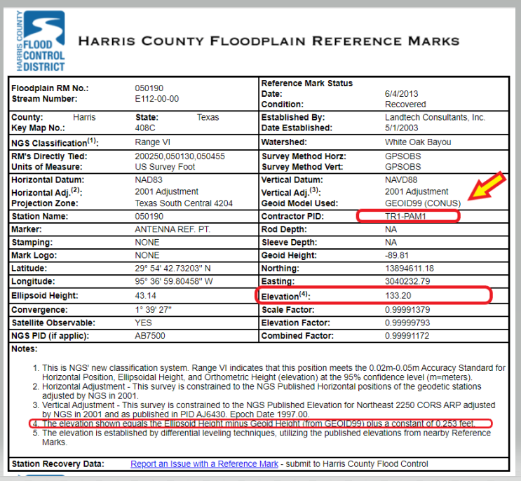 Harris County Floodplain Reference Mark Datasheet. (Image: Harris County Flood Control District)