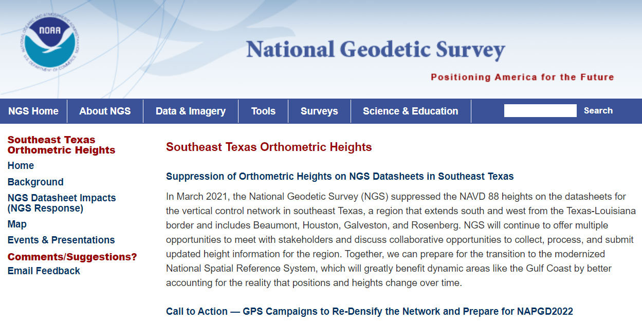 NGS Southeast Texas Orthometric Heights. (Image: NGS)