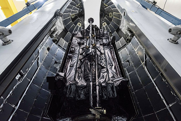 The GPS III SV03 satellite is encapsulated in its protective launch fairings. (Photo: U.S. Space Force)