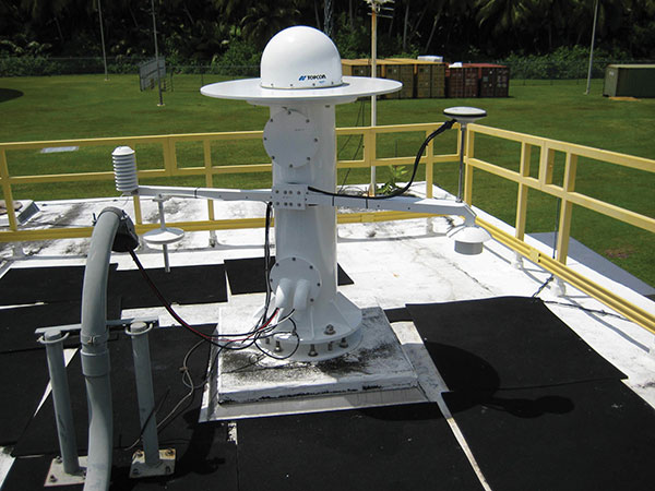 A GPS Antenna is installed at the Diego Garcia Tracking Station, part of the Satellite Control Network operated by the Space Force. (Photo: U.S. Space Force)