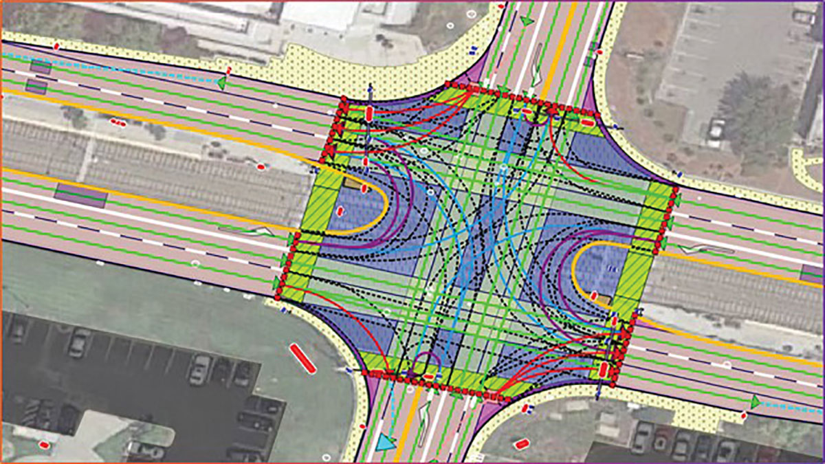 An MD map of a California intersection showing road features — including control attributes — placed with zonal accuracy. (Image: Carmera)