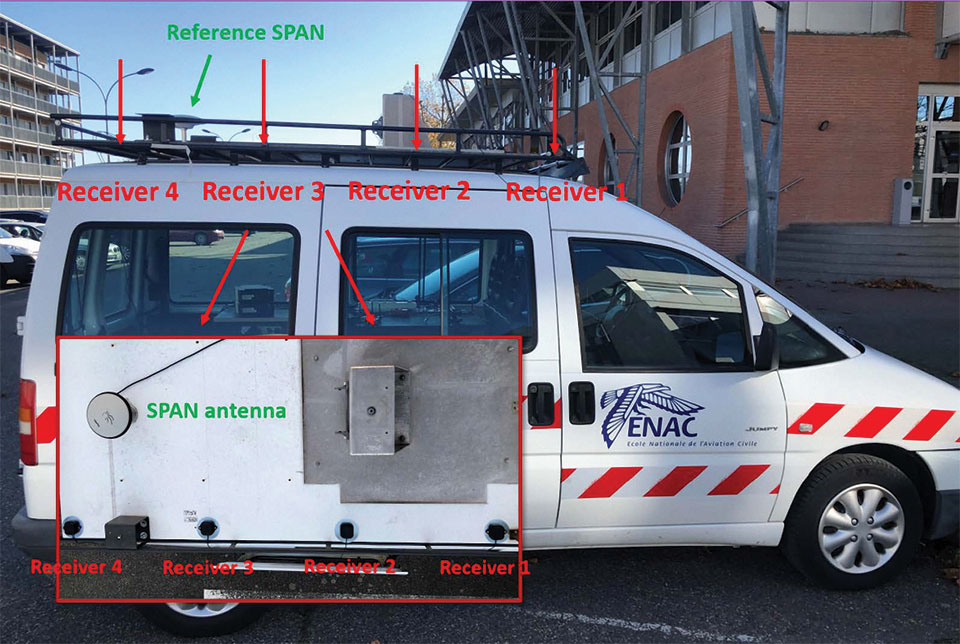 FIGURE 2. Real data collection set-up: Four GNSS U-blox antennas and one NovAtel SPAN receiver antenna on the vehicle rooftop.