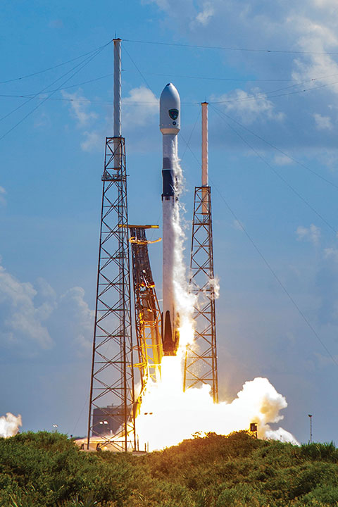The M-code-enabled SV03, shown launching in June 2020, was joined by SV04 in December. SV05, the 24th M-code-enabled satellite, is expected to launch by July 2021, completing the Initial Operating Capability of M-code. (Photo: U.S. Space Force)