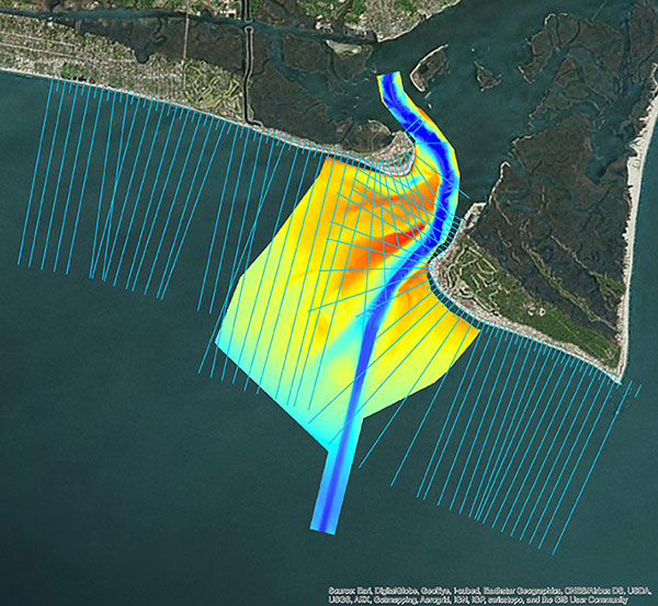 Multi-beam bathymetry and topo/bathy beach profiles of the Cape Fear River Inlet (USACE Wilmington). (Image: NV5 Geospatial)