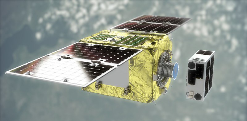 The ELSA-d satellite servicer and client launched March 2021, the team prepares to demonstrate the servicer's technology and capability to remove the Client debris from this summer. (Image: Astroscale)