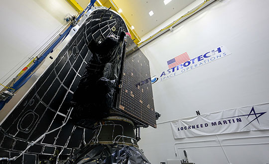 GPS III SV05 is encapsulated within a SpaceX payload fairing at Astrotech Space Operations Florida in preparation for its June 17 launch. (Photo: Lockheed Martin)