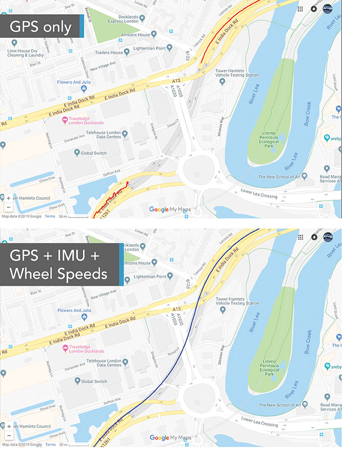 This test in London shows the value of inertial and wheel speed sensors. (Image: Racelogic)