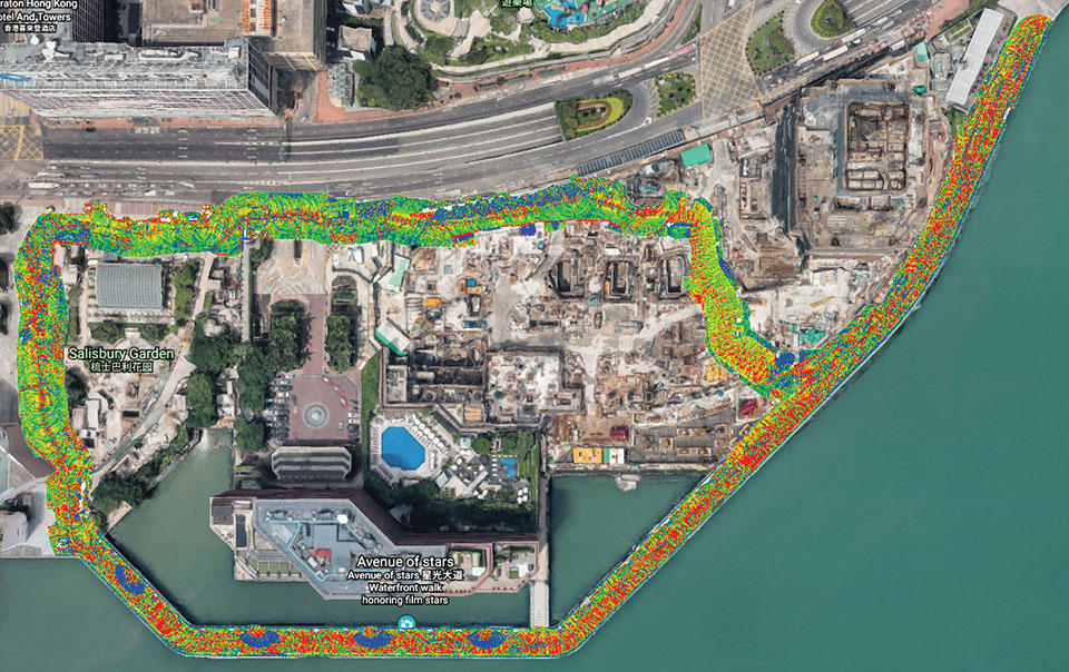 The route taken by the mobile mapping backpack carrier in the harbor area. (Image: The Hong Kong Polytechnic University)