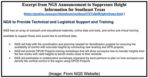 Excerpt from NGS Announcement to Suppresses Height Information for Southeast Texas. (Image: NGS website)