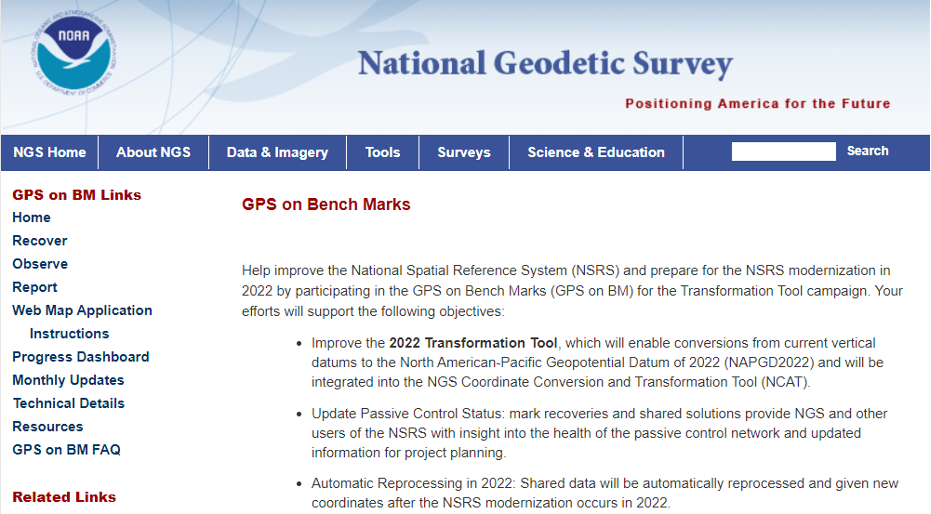 NGS GPS on Bench Marks webpage. (Image: NGS Website)