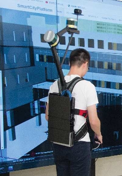 The PolyU team's mobile mapping backpack. (Image: The Hong Kong Polytechnic University)