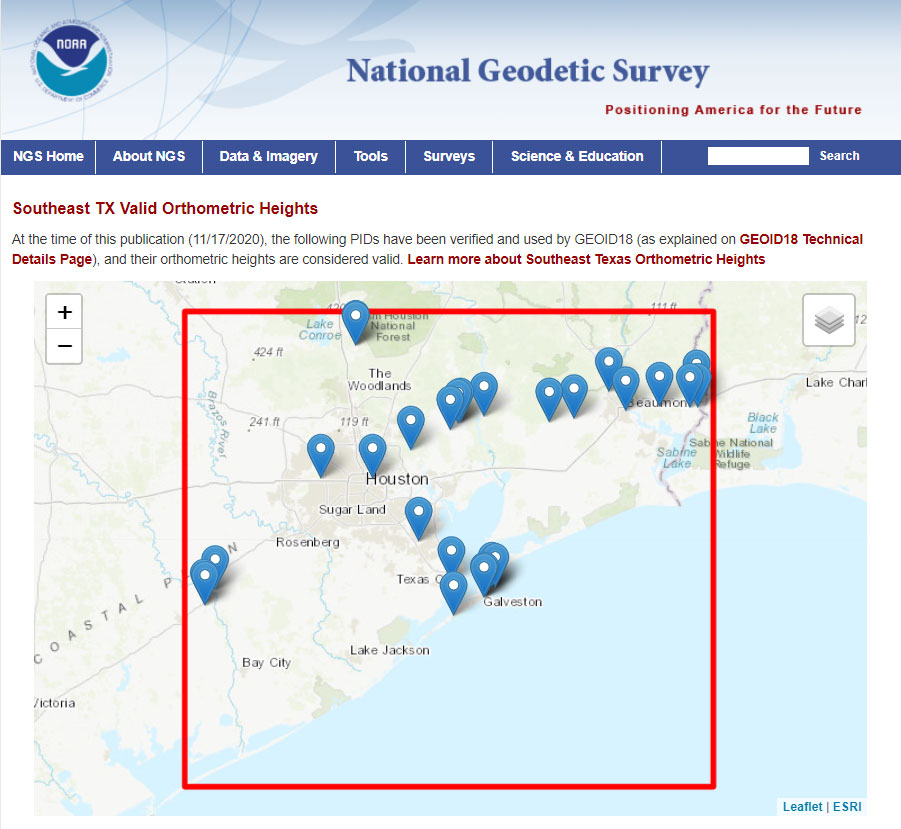 Link to Map SE TX Valid Ortho Heights. (Image: NGS website)