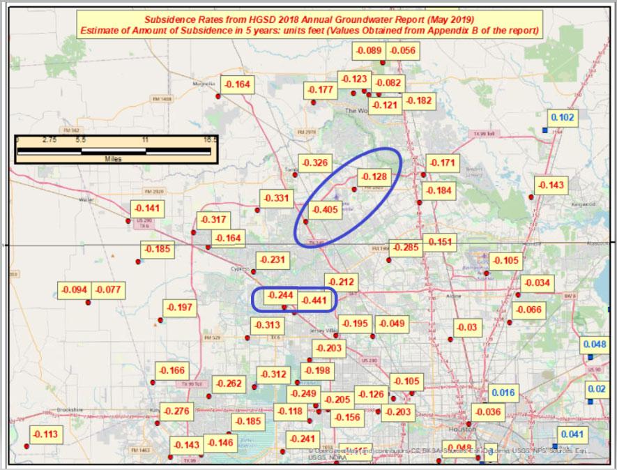 Estimate of Amount of Subsidence in 5 Years in the Harris-Galveston, Texas, Region – Units Feet. (Image: David Zilkoski)