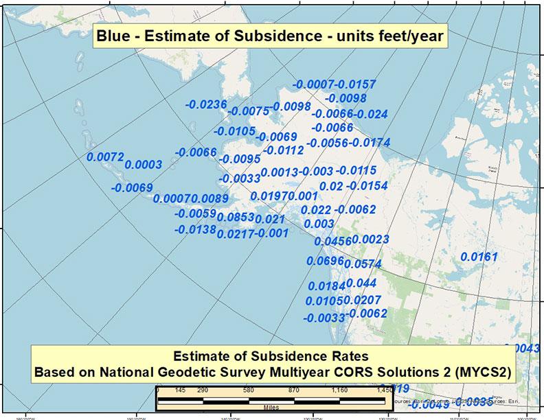Estimate of Velocity Rates Based on MYCS2 – CONUS (feet/year). (Image: David Zilkoski)