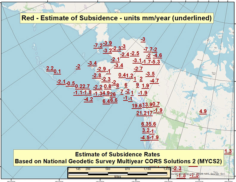 Estimate of Velocity Rates Based on MYCS2 – Alaska (mm/year). (Image: David Zilkoski)