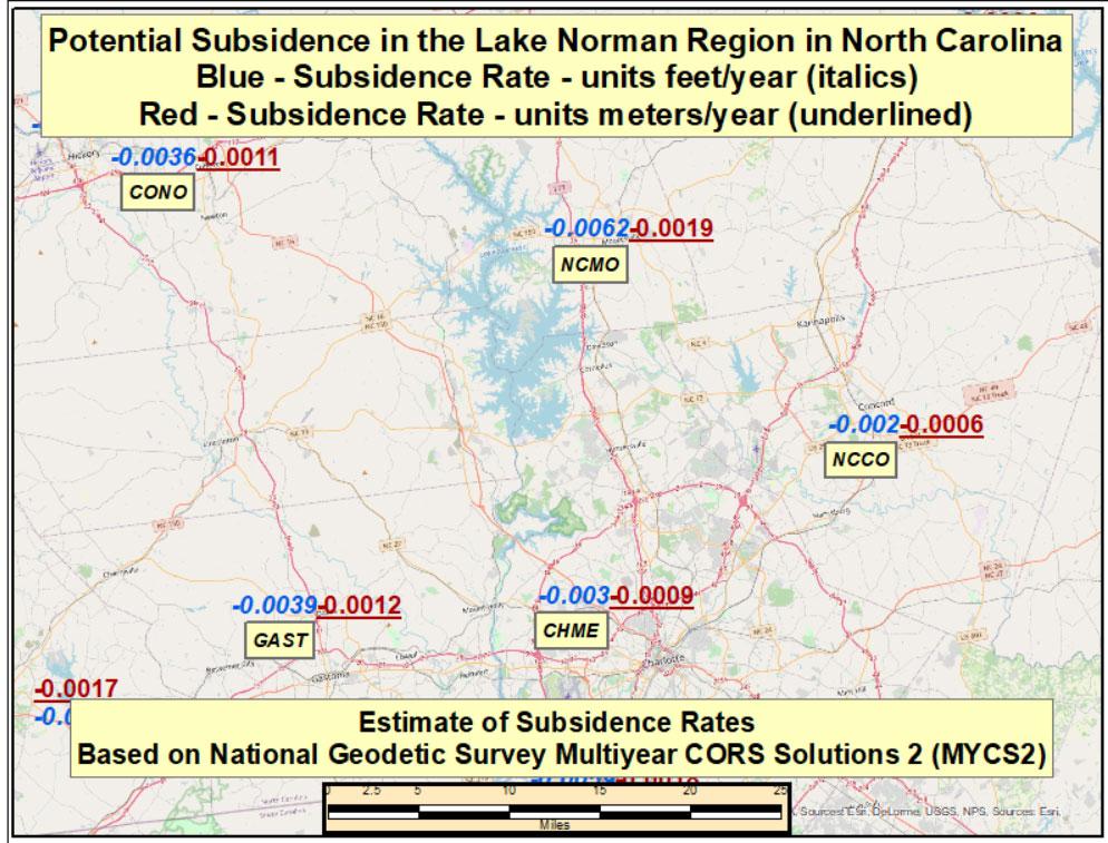 Potential Subsidence Rates in the Lake Norman Region in North Carolina. (Image: David Zilkoski)