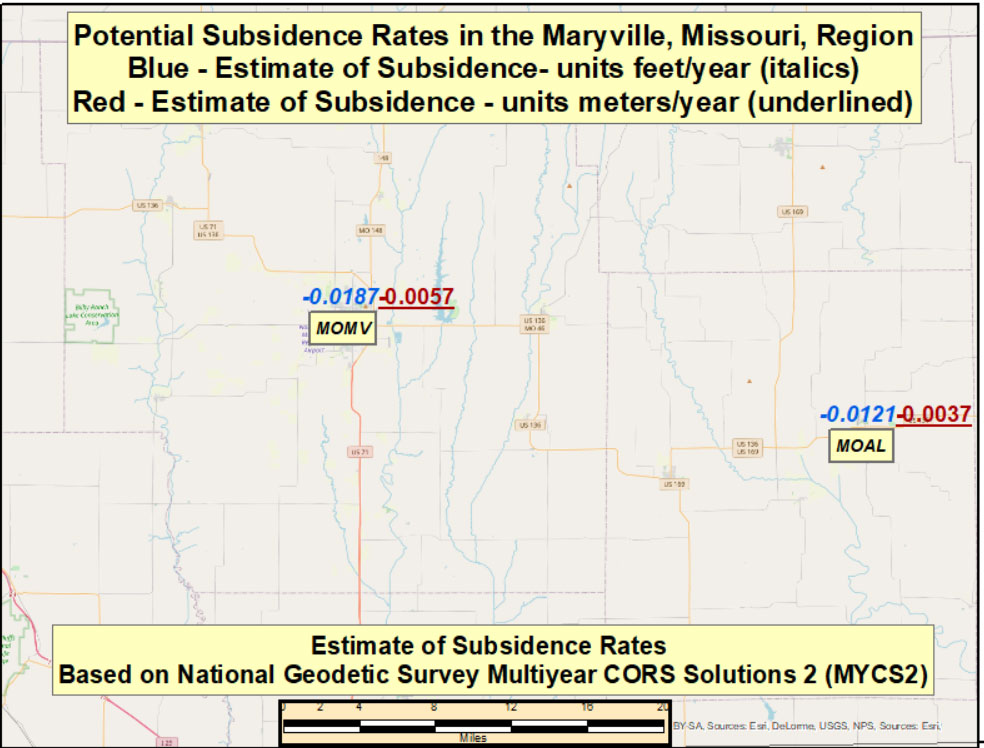 Potential Subsidence Rates in the Maryville, Missouri, Region. (Image: David Zilkoski)