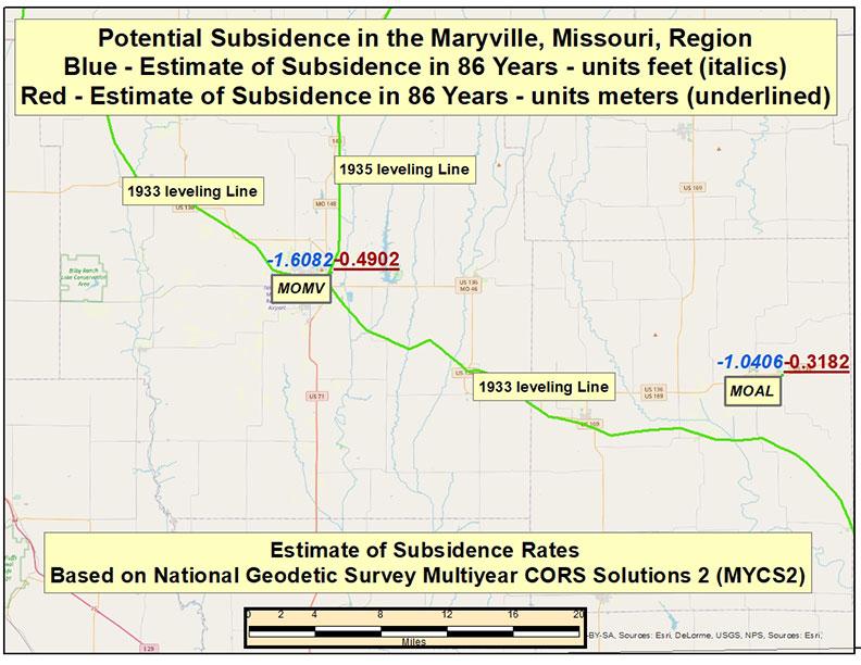Potential Subsidence in 86 Years in the Maryville, Missouri, Region. (Image: David Zilkoski)