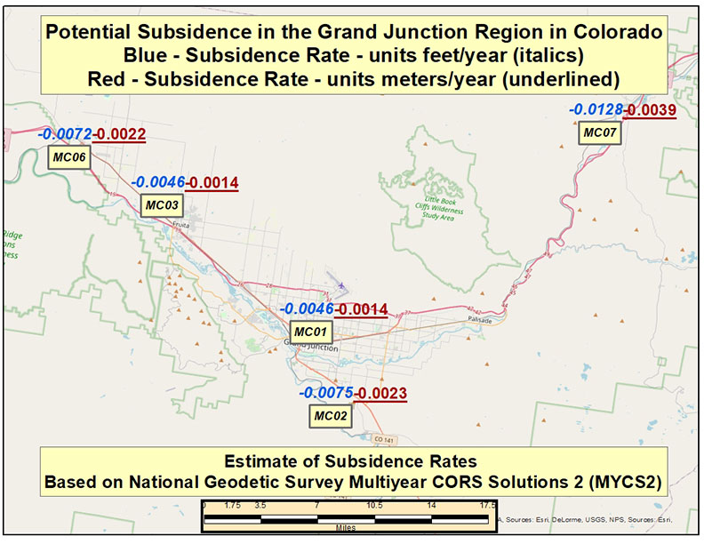 Potential Subsidence Rates in the Grand Junction. Colorado, Region.(Image: David Zilkoski)