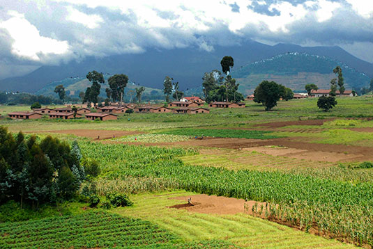 The new SBAS services are expected to aid agriculture and other sectors in Africa. The photo shows farming in the rich volcanic soils on the border of the Democratic Republic of Congo and Rwanda. (Photo: iStock/Getty Images Plus)