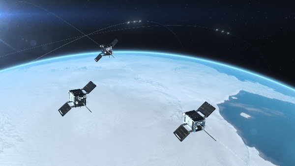 Cluster 3 satellites fly in formation, joining Clusters 1 and 2. (Artist's rendering: Hawkeye 360)