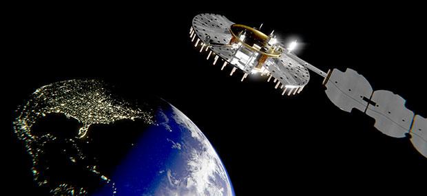 Artist's concept for NTS-3 in geostationary orbit. (Artist's concept: 2d Lt Jacob Lutz, AFRL/RV)
