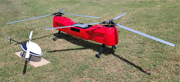 The Sicura EG-1100 (left) and Anzen EG-1250 with Sky Power engines are being exhibited at AUVSI Xponential. (Photo: UAS Global Services)