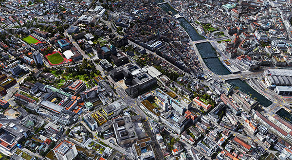 Digital twin of Zurich mapped with the WingtraOne GEN II drone. (Image: Wingtra)