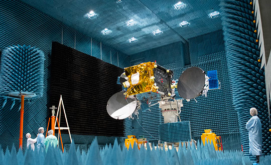 The second satellite in the European Data Relay System (EDRS) undergoes tests at Airbus's Compact Antenna Test Range facility. (Photo: ESA)