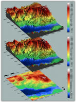 A digital terrain model, a digital surface model, and a digital elevation model (from top). (Image: Inertial Labs)