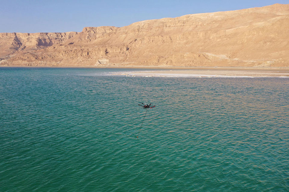 A drone equipped with an echo sounder surveys the Dead Sea. (Photo: SPH Engineering)