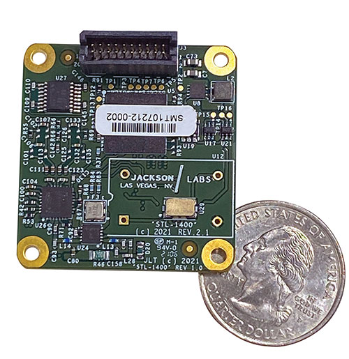 The STL-1400 positioning and timing receiver is designed for battery-operated low SWaP-C applications. (Photo: Jackson Labs)
