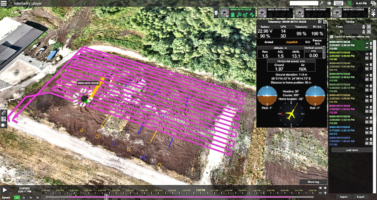 Telemetry view of drone survey mission in UgCS. (Image: SPH Engineering)