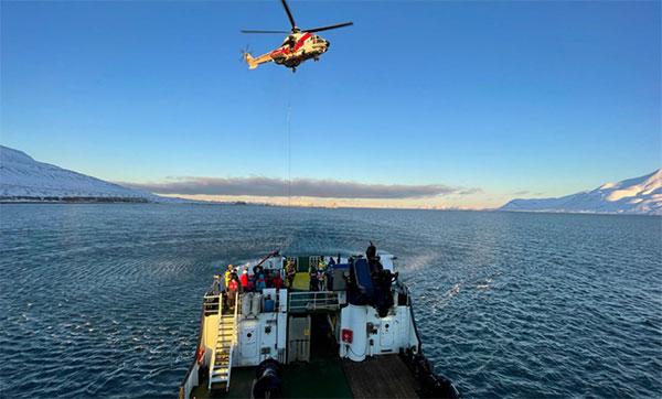 The AMRO 2021 exercise tested the rescue of 200 cruise-ship passengers using Galileo SAR. (Photo: EUSPA)