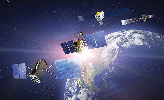 (Satellites from left) GPS: In July 1995, GPS achieved full operational capability (FOC). GLONASS: In December 1995, the (then) Soviet system achieved FOC. BeiDou: On June 23, 2020, China launched the final satellite of the BeiDou-3 constellation. Galileo: The constellation has 21 usable satellites.(Credit: Satellites from public sources; background image: NASA/Chaykovsky Igor/Shutterstock.com)