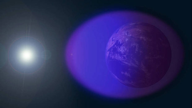 The ionosphere is shown in purple and not-to-scale in this image. (Image: NASA's Goddard Space Flight Center/Duberstein)