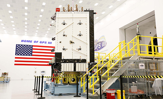 An image of the first GPS III satellite. Photo provided by Lockheed Martin.