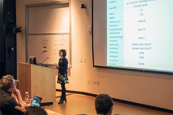 Xiaochun Lu presents at Stanford PNT Symposium on Oct. 30, 2019. (Photo: Stanford University)