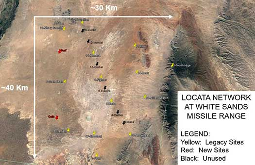 Figure 2. Locata network at White Sands Missile Range. (Image: Author)
