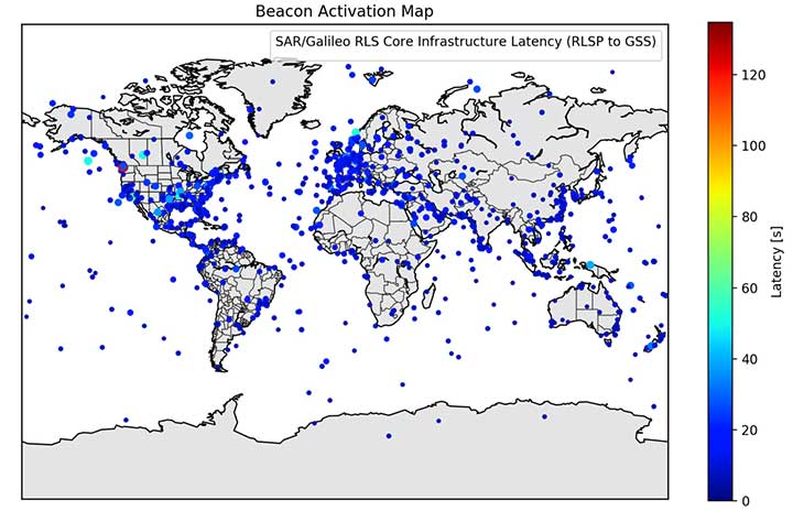 Figure 5. Beacon activation map and RLM delivery latency through the Galileo system. (Image: ESA)