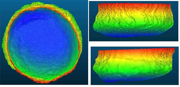 Processed Scan Data: A dual-axis sonar (DAS) system collected point-cloud data to create a 3D representation of the Blue Hole. The unit was pole-mounted on the survey vessel with the GPS and motion reference unit directly over the scanner's head. (Image: Mark Atherton/Kongsburg)