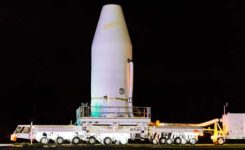 ULA technicians transport the GPS III satellite to the Delta IV launchpad.( Photo: United Launch Alliance)